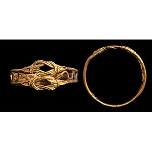 A greek gold ring. Double Hercules knot. ...