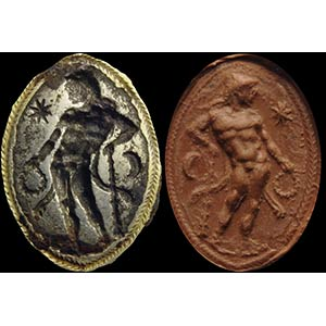 An etruscan iron intaglio. Hercules with ...