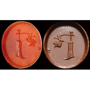 Intaglio romano in corniola. Timone con ...
