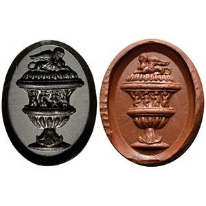 Intaglio romano in onice nero. Urna ...