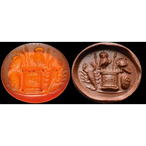 Intaglio romano in corniola. Emblema ...