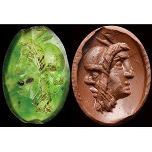 Intaglio romano in calcedonio verde. ...