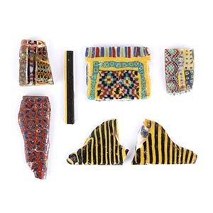 Group of seven Egyptian mosaic glass ...