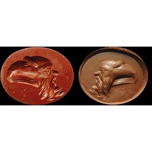 Intaglio romano in diaspro rosso. Gryllos. ...