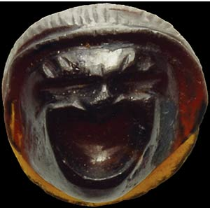 Cammeo romano in granato. Maschera teatrale ...