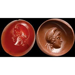 Intaglio romano in corniola gemmaria. Testa ...