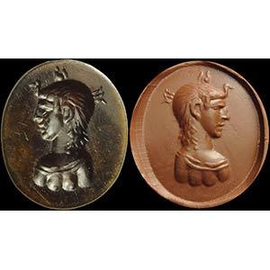Intaglio romano in agata. Busto di regina ...