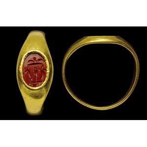 Intaglio romano in diaspro rosso, montato in ...