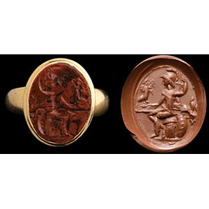 Intaglio romano in diaspro rosso in anello ...