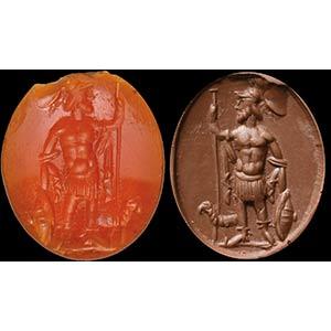 Intaglio romano in corniola. Marte. La ...