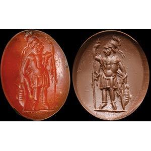 Intaglio romano in corniola. Marte. Il dio ...