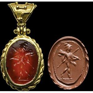 Intaglio romano in corniola, montato in ...