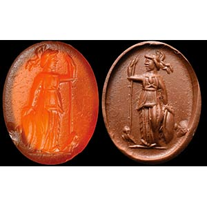 Intaglio romano in corniola. Atena. La ...
