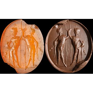Intaglio romano in corniola. Dioscuri. Le ...