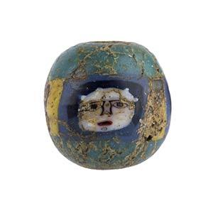Egyptian Face Bead mosaic glass 1st century ...