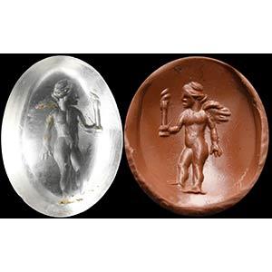 A roman rock crystal intaglio. Eros. The ...