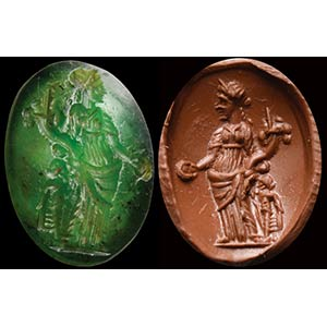 A roman green chalcedony intaglio. ...
