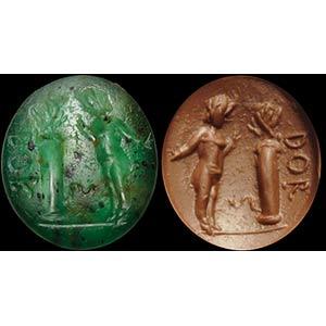 A roman, green chalcedony intaglio. Eros and ...