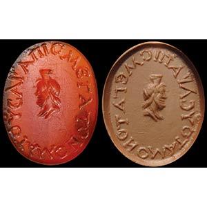 A carnelian intaglio.  Bust of Zeus Serapis, ...