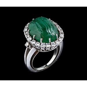 An emerald intaglio, mounted on a modern ...