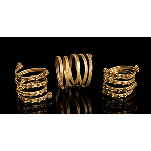 Group of three Etruscan Gold Spiral Rings7th ...