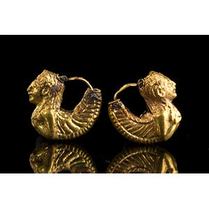 Pair of Etruscan Gold siren-Shaped ...