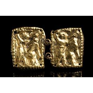 Etruscan Gold Belt Hook depicting Hercle ...