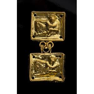 Etruscan Gold Belt Hook depicting a reclined ...