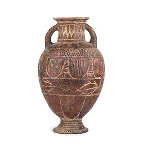 Etruscan White-On-Red Amphora With Fish and ...
