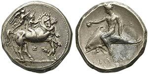 Apulia, Tarentum, Nomos, ca. 340-332 BCAR (g ...
