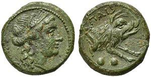 Lucania, Paestum, Sextans, ca. 218-201 BCAE ...