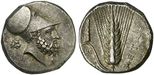 Lucania, Metapontion, Nomos, ca. 330 BCAR (g ...