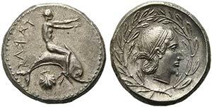 Apulia, Tarentum, Nomos, ca. 470-450 BCAR (g ...