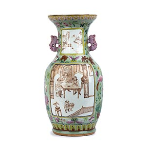 A POLYCHROME BALUSTER VASE  China, Qing ...