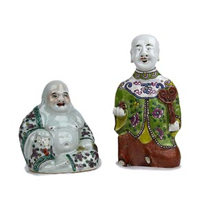 TWO POLYCHROME FIGURES China, 19th-20th ...