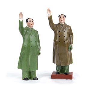 TWO POLYCHROME PORCELAIN FIGURES OF MAO ...