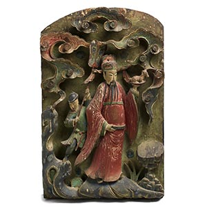 A PAIR OF CARVED AND PAINTED PANELS WITH ...