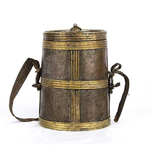A PARTIALLY GILT BRASS CYLINDRICAL CONTAINER ...