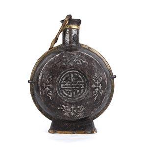 A SILVER INLAID METAL CIRCULAR FLASK  Tibet, ...