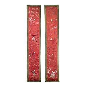 A PAIR OF LARGE EMBROIDERED SILK 'EIGHT ...