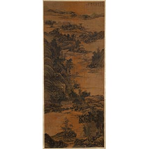 AN INK ON PAPER LANDSCAPE SCROLL  China, ...