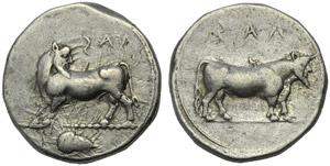 Bruttium, Laos, Stater, c. 480-460 BC; AR (g ...