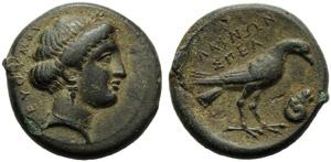 Lucania, Laos, Bronze, c. 350-300 BC; AE (g ...