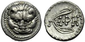 Bruttium, Rhegium, Litra, c. 420-387 BC; AR ...
