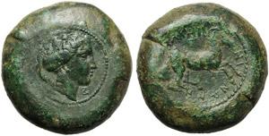 Sicily, Abakainon, Bronze, c. 400-350 BC; AE ...