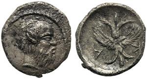 Sicily, Aitna, Hemilitron, c. 450-415 BC; AR ...