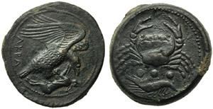 Sicily, Akragas, Tetras, c. 425-406 BC; AE ...
