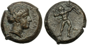 Sicily, Alaisa, Bronze, c. 339-317 BC; AE (g ...
