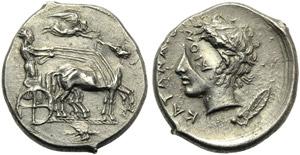 Sicily, Katane, Tetradrachm, c. 450-405 BC; ...