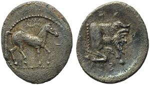 Sicily, Gela, Litra, c. 465-450 BC; AR (g ...